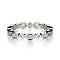 Eternity Band Set With Marquise And Round Cut Diamond SJ-B1212 product image